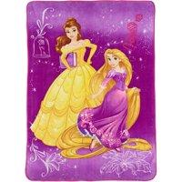 Disney's Princess Beauty and The Beast, Belle, Rapunzel Wishful Dreamer 62'' x 90'' Kids Plush Blanket