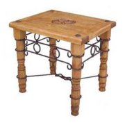 Traditional Star End Table w Iron Accents
