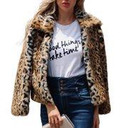 d1c8a5bc40b8f Women s Plus Size Long Sleeve Lapel Faux Fur Leopard Print Short Coat Jacket