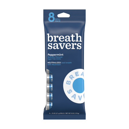 (2 Pack) Breath Savers, Peppermint Mints, 6 Oz, 8 Ct - Penguin Mints