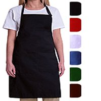 MHF Aprons-2 Piece Pack-Red Bib Apron-Poly Spun for Home/commercial/Restaurant Kitchen