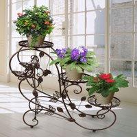 Classic Plant Stand Shelf Holds 3-flower Pot Bronze