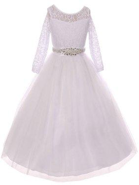 Little Girls Dress Lace Top Rhinestones Tulle Communion Party Flower Girl Dress White Size 2 (M37BK2CB)