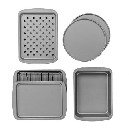BakerEze 8-Piece Non-stick Bakeware Set, Pizza Cookie & Baking Pans ()