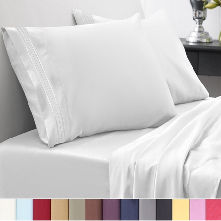 Sweet Home Collection 1500 Thread Count 4 Piece Microfiber Bed Sheets (Elegant Silver Satin)