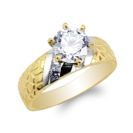 Two Tone Engagement Ring Mounting - Womens 10K Yellow Gold Two Tone Unique Pattern Engagement Solitaire Ring Size 4-10