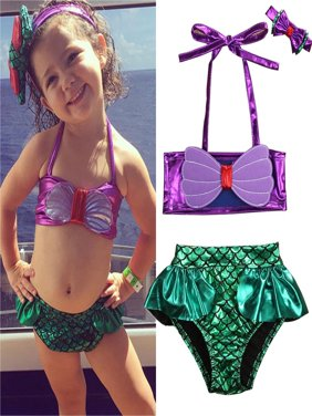 Toddler Kids Baby Girls Swimwear Bathing Suit Beachwear Tankini Bikini Costume 3pcs