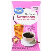 (3 Pack) Great Value Sweetener with Saccharin Packets, No Calorie, 8.82 oz, 250 Count