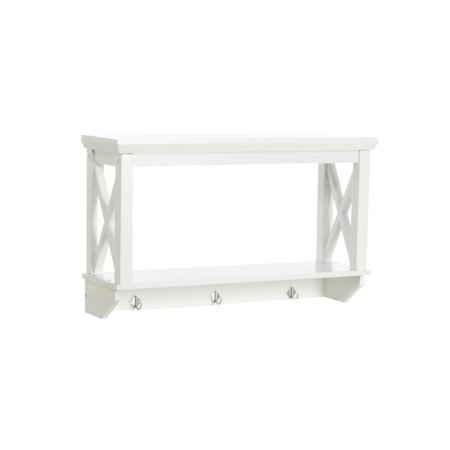 Riverridge Home X Frame Bath Collection Wall Shelf With Hooks White