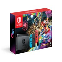 Nintendo Switch System with Mario Kart 8 Deluxe, Neon Red / Blue, HACSKABLH