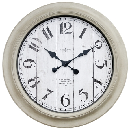 Better Home & Gardens Oversized Wall Clock, 28 Inch Whitewashed Modern - Weather Station Wall Clock