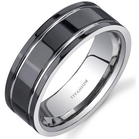 - Men's Black Comfort Fit Titanium Wedding Band Ring, 8mm