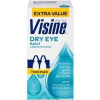 Visine Dry Eye Relief Lubricant Eye Drops 0.50 oz, 2 ea