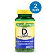 (2 Pack) Spring Valley Vitamin D3 Softgels, 5000 IU, 250 Ct