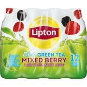 (24 Bottles) Lipton Diet Green Tea, Mixed Berry, 16.9 Fl Oz