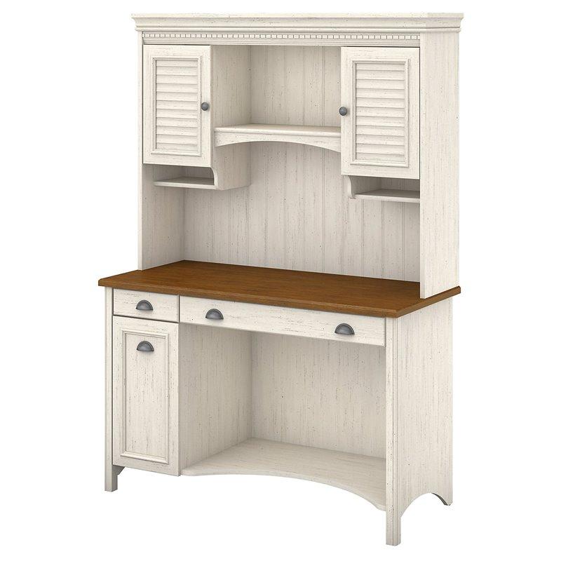 Scranton U0026 Co Computer Desk With Hutch And Drawers In Antique White