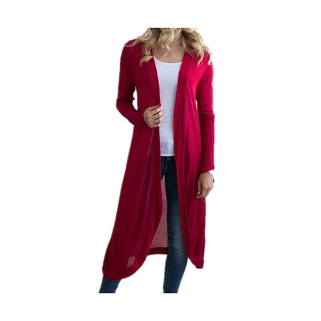 DYMADE Women Basic Long Sleeve Knit Open Front Cardigan Sweaters - Extra Long Cardigan