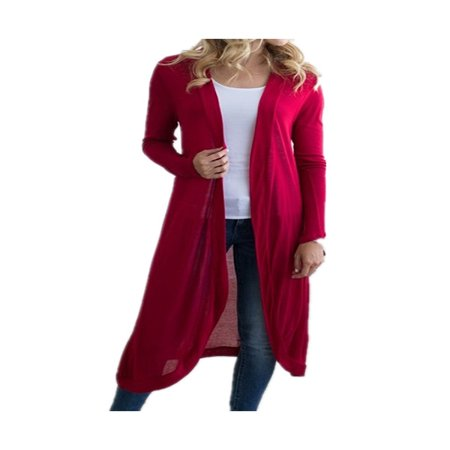 DYMADE Women Basic Long Sleeve Knit Open Front Cardigan Sweaters - Long Wool Blend Cardigan