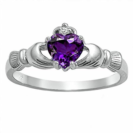 Delaney: 0.765ct Heart cut Simulated Amethyst Ice CZ Claddagh Ring Sterling Silver sz 6.0