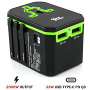 R&L Travel Adapter, Universal International Power Adapters Perfect AC Plug Charger, Two USB Ports
