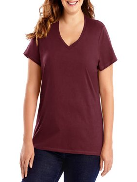 Women's Plus-Size Lightweight Short Sleeve V-neck
