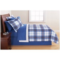 Mainstays Blue Plaid Bed in a Bag Bedding Set, Queen