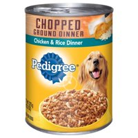 (12 Pack) PEDIGREE Chopped Ground Dinner Chicken & Rice Dinner Adult Canned Wet Dog Food, 13.2 oz. Can