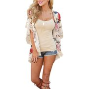 f4d18cecec Women Chiffon Floral Print Shawl Kimono Cardigans Tops Lace Hemline Loose  Sleeves Beach Cover Ups Blouse
