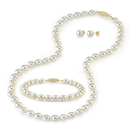 White Akoya Pearl Necklace Bracelet (14K Gold 7.0-7.5mm White Akoya Cultured Pearl Necklace, Bracelet & Earrings Set, 17