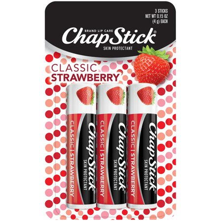 ChapStick Classic Lip Balm, Strawberry, 3 Count (Best Lip Balm To Make Lips Pink)