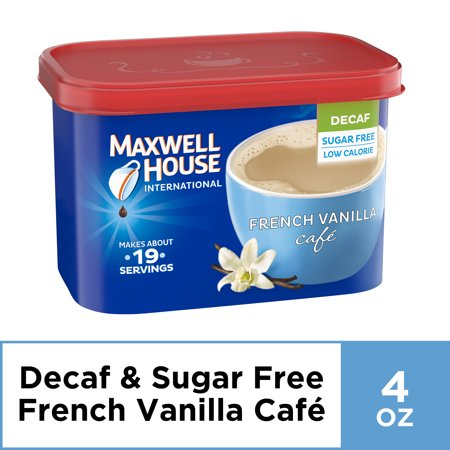 Maxwell House International French Vanilla Sugar Free Decaf Instant Coffee, Decaffeinated, 4 oz - French Caffeine Free Coffee