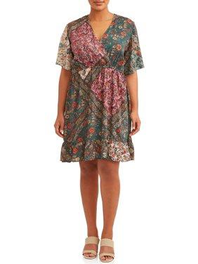 Women's Plus Size Flutter Sleeve Mix Print Ruffle Dress