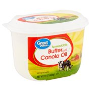 Great Value Spreadable Butter with Canola Oil, 15 oz