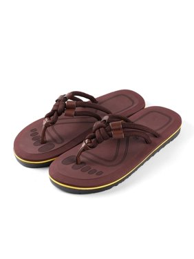 AERUSI Men's Mesa Knot Indoor or Outdoor Flip Flop Sandals (Brown) (Single Pair)