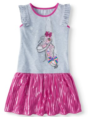 3D Bow Pleated Jersey Dress (Little Girls & Big Girls)