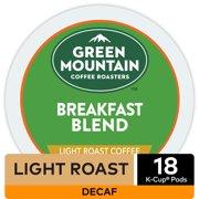 Green Mountain Coffee Breakfast Blend Decaf, Keurig K-Cup Pod, Light Roast, 18 Ct