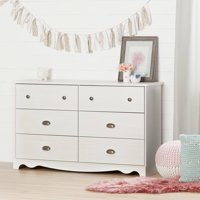 South Shore Caravell 6-Drawer Double Dresser, White Wash