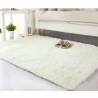 NK HOME 4' x 6' Ultra Soft Indoor Modern Area Rugs Fluffy Living Room Carpets Suitable for Children Bedroom Home Decorate Nursery Rugs White