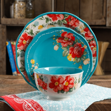 The Pioneer Woman Vintage Floral 12Pc Dinnerware Set Walmart Exclusive (Thanksgiving Dinnerware Sets)