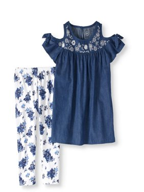 Girls' Cold-Shoulder Chambray Tunic and Floral Capri Legging 2-Piece Set