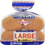 Mrs Baird's Large Seeded Hamburger Buns, 8 count, 18.25 oz