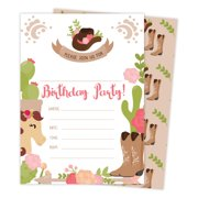 Cowgirl Cow Girl Happy Birthday Invitations Invite Cards 25 Count With Envelopes Seal