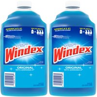 (2 Pack) Windex Glass Cleaner Refill, Original Blue, 2 L