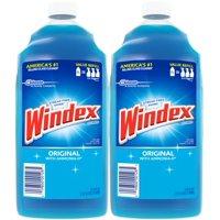 (2 Pack) Windex Glass Cleaner Refill, Original Blue, 2 L