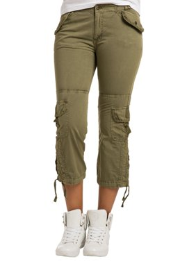 Sweet Vibes Junior Women Stretch Twill Cargo Capri Pant Drawstring Zipper Hems