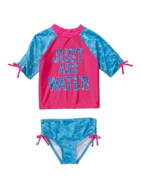 Baby Toddler Girl Bow Detail 2-piece Swimwear Rashguard Set