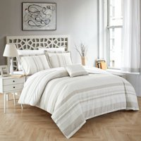 Chic Home Devon 4 Piece Duvet Cover Set 100% Cotton Seersucker Striped Design Zipper Closure Bedding with Decorative Pillows Shams Included, King Beige