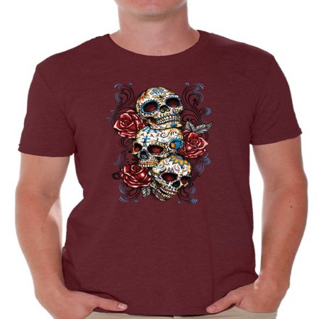 Awkward Styles Three Sugar Skull Tshirt for Men Skull Red Roses Shirt Sugar Skull Shirt Men's Day of the Dead Shirt Dia de los Muertos Gifts for Him Skull T-Shirt Halloween Outfit Sugar Skulls Tshirt (Los Origenes Halloween)