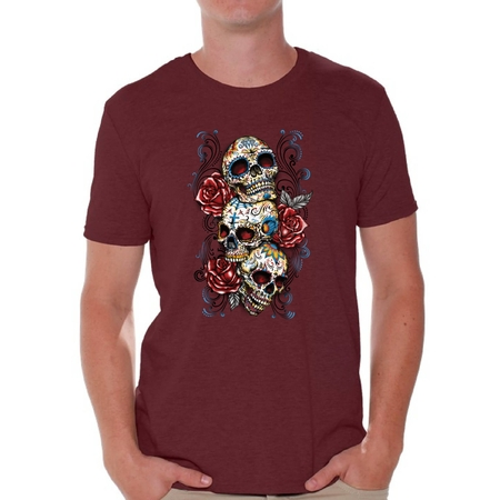 Awkward Styles Three Sugar Skull Tshirt for Men Skull Red Roses Shirt Sugar Skull Shirt Men's Day of the Dead Shirt Dia de los Muertos Gifts for Him Skull T-Shirt Halloween Outfit Sugar Skulls Tshirt
