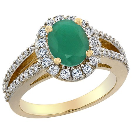 - 10K Yellow Gold Natural Cabochon Emerald Halo Ring Oval 8x6 mm with Diamond Accents, size 5.5